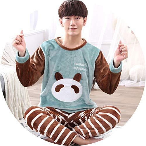 (Sleep wear Pyjama Men Snow Winter Night wear Pajama Sleepwear Male Cartoon Coral Fleece Lounge Set,Model 9,S)