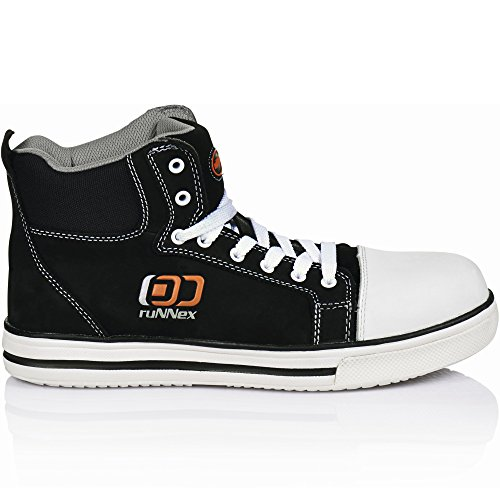 Runnex 5341 - S3 calzado de seguridad deporte estrella como zapatos de trabajo, zapatillas de deporte, 46, negro, - negro / blanco