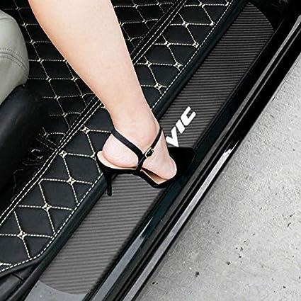 SENYAZON Civic Decal Sticker Carbon Fibre Vinyl Reflective Car Door Sill Decoration Scuff Plate for Honda Civic Blue