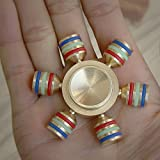 Foreveryang  Six Winged Brass Hand Fidget Spinner Gold, for ADHD Autism Help Focus and Stress Relief Spinning 2-4 Minutes Metal Fidget Spinner Six Wing