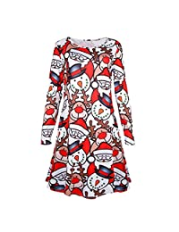 Little Girls' Christmas Clothing Reindeer Long Sleeve Red Princess Party Dresses