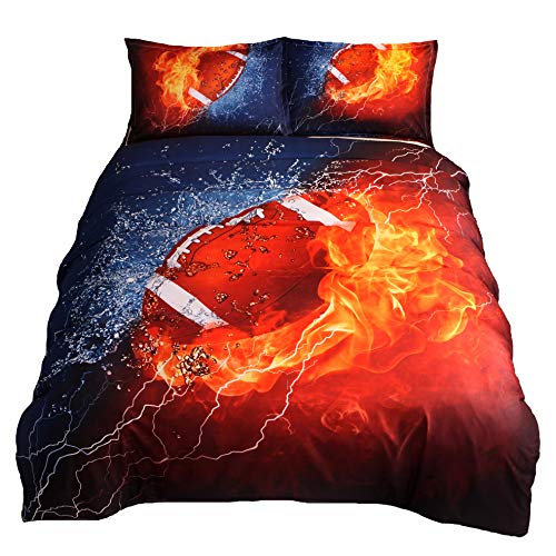 HTgroce 3D Sports Rugby Bedding Set for Teen Boys,Duvet Cover Sets with Pillowcases,Full Size,3PCS,1 Duvet Cover+2 Pillow Shams,(Comforter not Included)