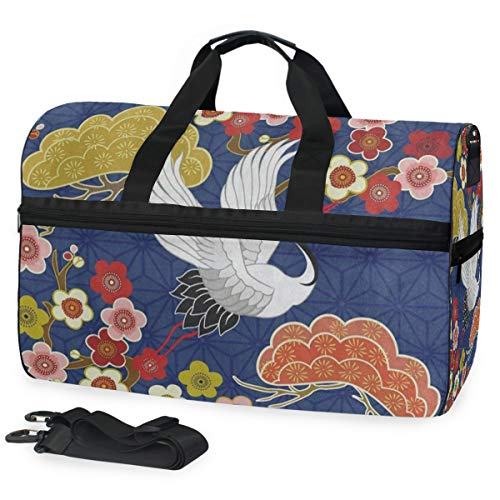 Price comparison product image Travel Gym Bag Cherry Blossom Bird Sakura Japanese Weekender Bag With Shoes Compartment Foldable Duffle Bag For Men Women