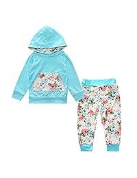 Kids Tales Toddler Baby Girl 2pcs Flower Print Hoodies with Pocket Top+Striped Long Pants Set
