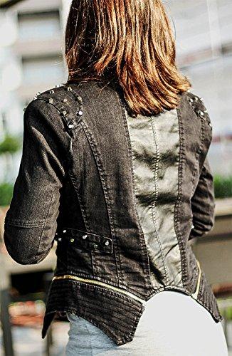 majamo Mujer Remaches Chaqueta Blogger Jeans Chaqueta con capucha negro de piel de gris