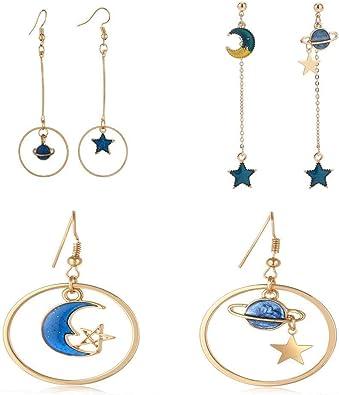 1 Pair Lovely Women Blue Planet Moon Dangle Earrings Ear Hook Fashion Jewelry