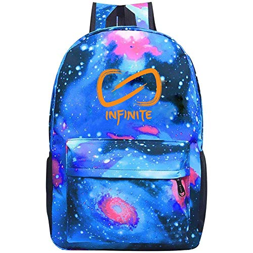 Starry Universe Newest_Infinite Signature Waterproof Backpack for Boy Girl School Bag Backpack Daypacks for Kids Youth Blue
