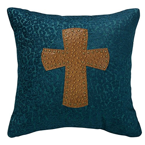 HiEnd Accents Leopard Chenille Pillow with Cross, 18 by 18