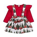 Xmas gift Toddler Baby Girls Christmas Dress Kid Baby Girls Ruffle Long Sleeve Tops + Christmas Tree Suspender Skirt Outfit (Toddler Baby Girls Christmas Playwear, 2-3 T)