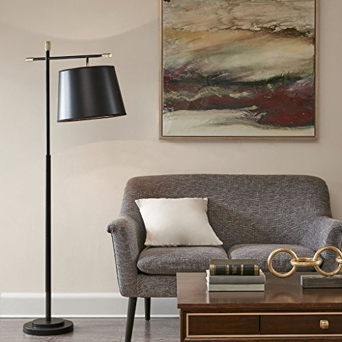 (Madison Park MP154-0148 Webster Floor Lamp - Modern Accent Furniture Décor Lighting for Living Room Metal Frame, Paper Taper Shade, 64.5