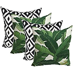 "Set of 4 Indoor Outdoor Decorative Throw Pillows,Tommy Bahama Fabric Swaying Palms Aloe Green Tropical Palm Leaf & Black White Aztec Geometric - Choose Size (17"" x 17"")"