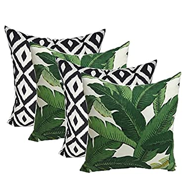 Resort Spa Home Decor Set of 4 Indoor Outdoor Decorative Throw Pillows,Tommy Bahama Fabric Swaying Palms Aloe Green Tropical Palm Leaf & Black White Aztec Geometric - Choose Size (17  x 17 )