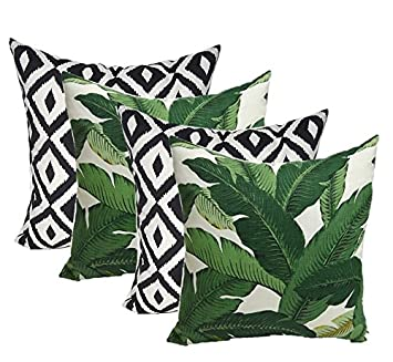 Set of 4 Indoor Outdoor Square Decorative Throw Pillows, Made of Tommy Bahama Fabric- Swaying Palms Green Tropical Palm Leaf Fabric Black White Aztec Geometric, Choose Size 20 x 20