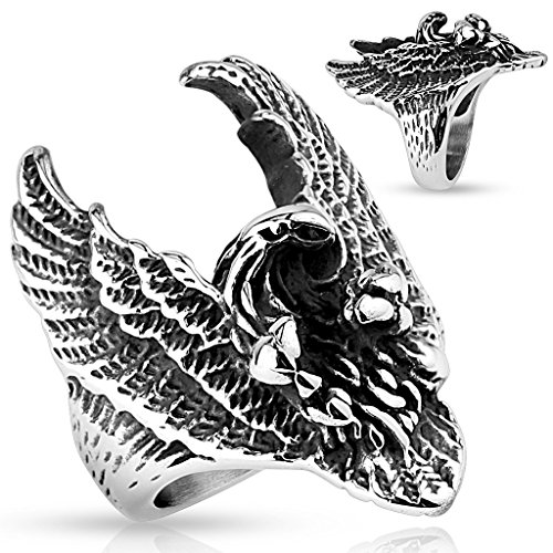 STR-0528 Stainless Steel Flying Eagle Ring (11)