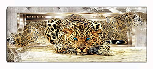 Leopard Picture Painting with Blue Eyes, Animal Canvas Wall Art Artwork Ready to Hang for Living Room Bedroom Bathroom Home Decorations Golden (Gold) ()