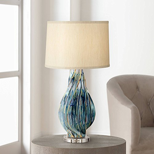 - Teresa Modern Table Lamp Ceramic Hand Painted Teal Drip Beige Fabric Drum Shade for Living Room Family Bedroom Office - Possini Euro Design