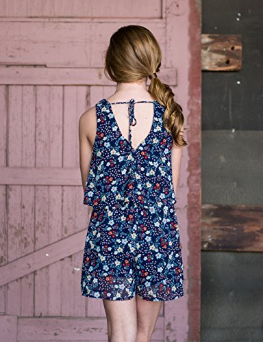 Truly Me, Big Girls Tween Sweet Floral Romper (Many Options), 7-16 (14, Navy Floral) by Truly Me (Image #3)