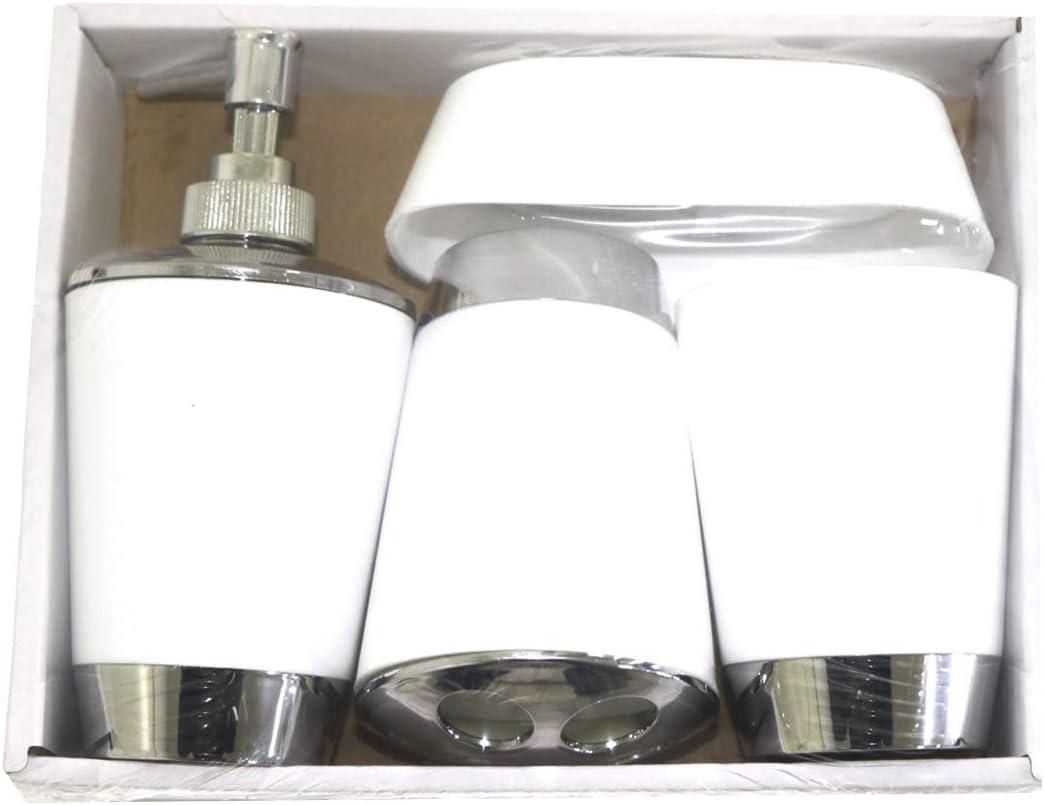 Set di accessori da bagno include portasapone porta spazzolino da denti dispenser per soffione ALLPER set da bagno bianco organizer da bagno