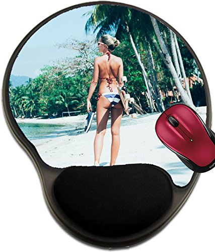 - Liili Mousepad wrist protected Mouse Pads/Mat with wrist support design IMAGE ID 32691839 Fashion lifestyle outdoors Sporty girl with longboard in hand walking on white sand on tropical b