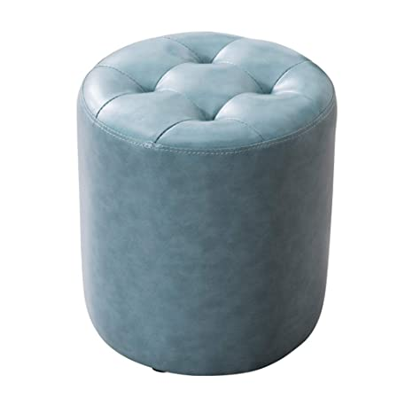 Tremendous Amazon Com Round Leather Ottoman Pouffe Bench Low Stools Gmtry Best Dining Table And Chair Ideas Images Gmtryco