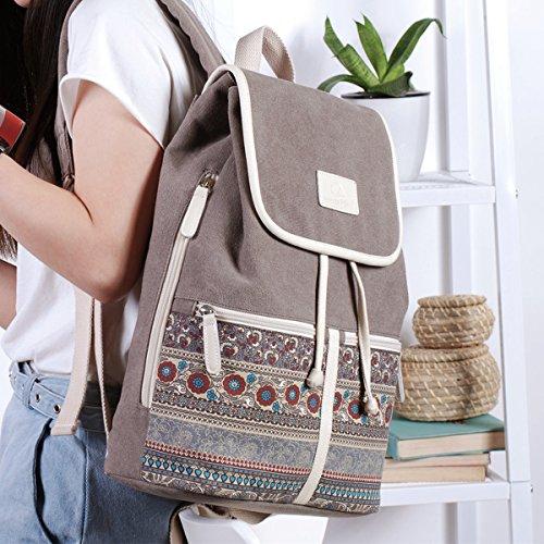 Casual Backpack Purse for Women,Canvas School Backpack Shoulder Bag Large Capacity Rucksack Bookbag fit Womens girls Ladies Travel Daypack by BTOOP (Image #5)