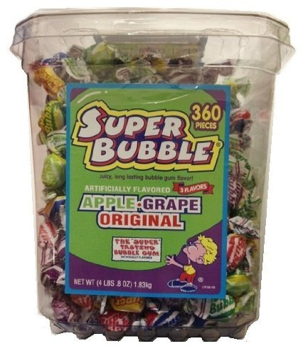 Super Bubble 360 Pieces 3 Flavors (Apple, Grape, Original) Net Wt 4lbs 0.8oz