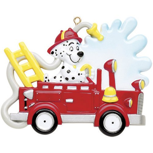 Personalized Fire Engine Truck Dog Christmas Ornament for Tree 2018 - Dalmatian Marshall Firefighter riding for Rescue - Patrol Story Play Boy Toddler Holiday Kids Child - Free Customization