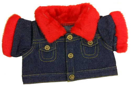 Animal Jacket Trim (Denim Jacket with Red Fur Trim Fits Most 14