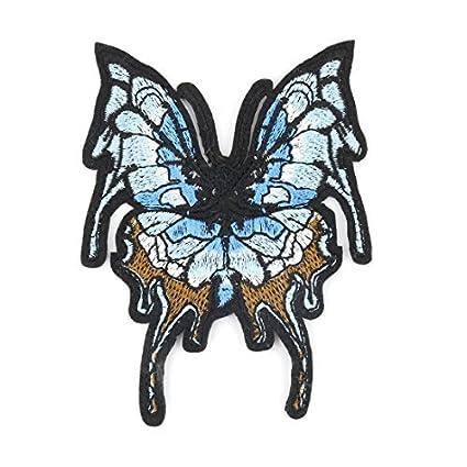 eDealMax Poliéster Inicio de la Mariposa del diseño DIY Bordados ropa decoración de Encaje apliques Azul