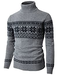 H2H Mens Casual Turtleneck Slim Fit Pullover Sweaters with Twist Patterned