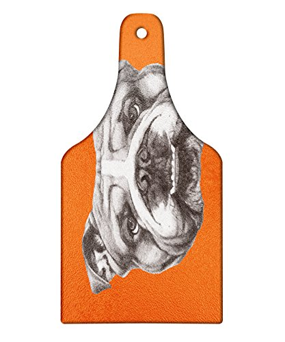 Lunarable Dog Cutting Board, Hand Drawn Portrait of English Bulldog Cute Puppy Retro Animal Funny Cool Pet, Decorative Tempered Glass Cutting and Serving Board, Wine Bottle Shape, Orange Warm Taupe by Lunarable