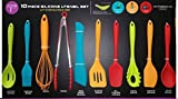 Core Kitchen - 10 Piece Silicone Utensil Set in Assorted Colors with Overmold Solid Core