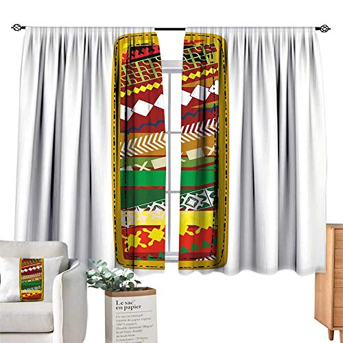 Unprecall Letter I Blackout Curtain Hand Drawn Abstract Design Elements Pattern Part of Alphabet Retro Inspired StyleMulticolor Curtain Holdback W72 x L72