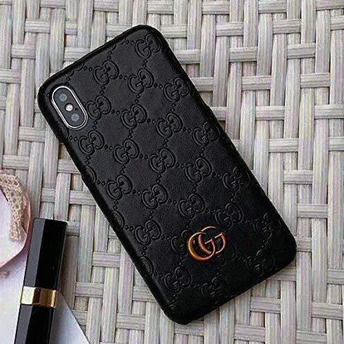iPhone Xs Case, Black Premium PU Luxury Stylish Designer Fashion Leather Cover Case for iPhone X & Xs ()