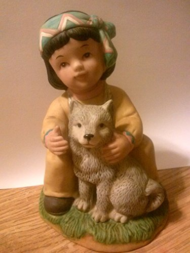 "HOMCO 4"" Navajo Boy with Wolf Pup Figurine"
