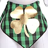 #5: Tail Trends St. Patricks Day Dog Bandanas with Lucky Gold Clover Applique for Medium to Large Sized Dogs - 100% Cotton (L)