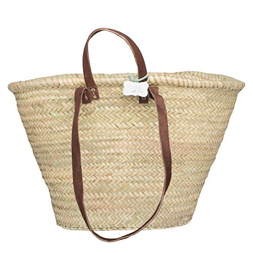French Basket with long and short leather handles: Sasha