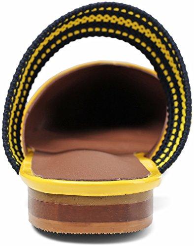 Calaer Donna Mocassino Con Tacco 2cm A Punta Tacco Alto Giallo