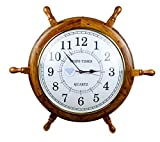 Nagina International Nautical Handcrafted Wooden Premium Wall Decor Wooden Clock Ship Wheels | Pirate's Accent | Maritime Decorative Time's Clock (48 Inches, Clock Size - 14 Inches)
