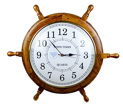 Nagina International Nautical Handcrafted Wooden Premium Wall Decor Wooden Clock Ship Wheels | Pirate's Accent | Maritime Decorative Time's Clock (48 Inches, Clock Size – 14 Inches) For Sale