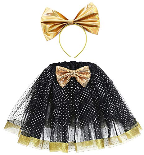 SanLai Girls Glitter Birthday Outfit LOL Costume Halloween Tutu Skirt for Kids Girl with Headband 3-7Y Black