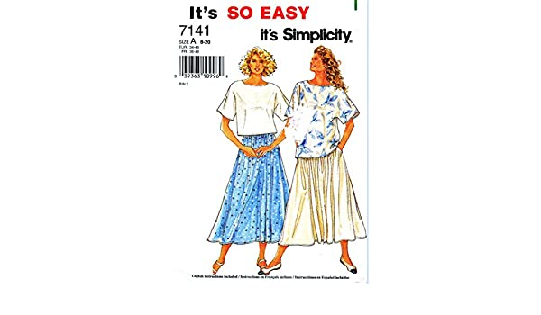 Amazon.com: MISSES TOP IN 2 LENGTHS AND SKIRT SIZE 8-10-12-14-16-18-20 EASY SIMPLICITY SEWING PATTERN #7141: Home & Kitchen