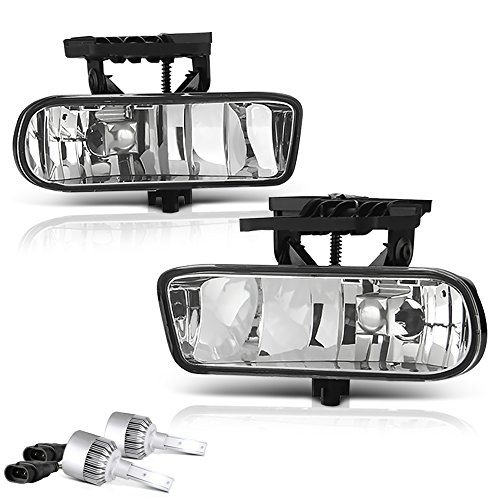 (VIPMOTOZ Front Fog Light Lamp Assembly For 1999-2002 GMC Sierra 1500 2500, Built-In COB LED Bulbs, Chrome Housing, Driver & Passenger Side)