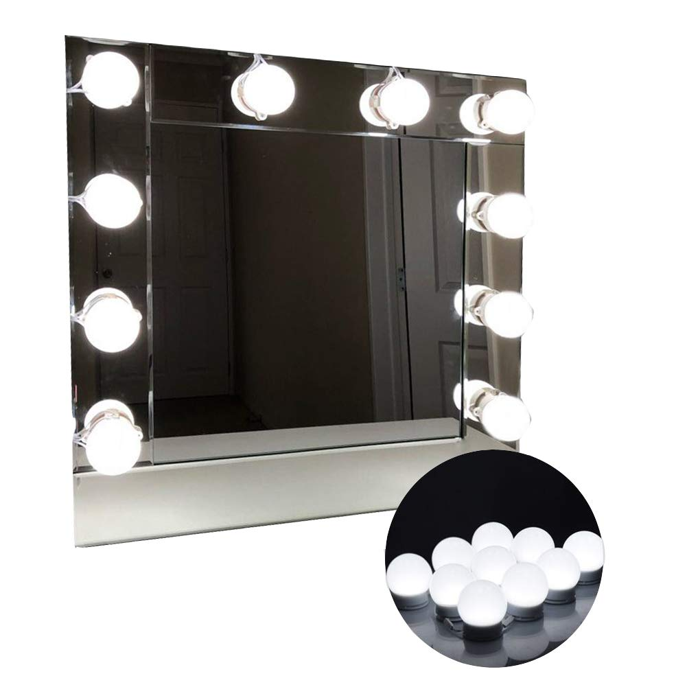 LED Vanity Mirror Lights Hollywood Style Makeup Mirror Bulbs 10 LED Bulbs Kit with Touch Dimmer Lighting Fixture Strip and Power Supply Adapter for Makeup Dressing Table
