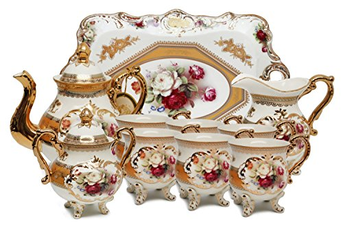 Hand Porcelain Vintage Painted - Royalty Porcelain 10-Piece Vintage Rose-Decorated Dining Tea Cup Set, Service for 6, Handmade & Hand-Painted, 24K Gold-Plated Bone China Tableware