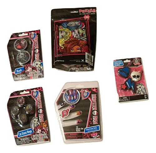 Nail Monster High (Monster High Activity Gift Set ~ Fashionably Fierce (Puzzle in a bag, Lip Rings, Healing Heart Eraser Set, Ghoulicious Nails, Blush; 5 Items, 1 Bundle))