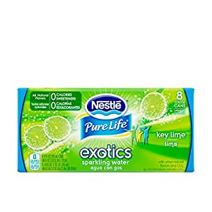 NESTLE PURE LIFE EXOTICS Sparkling Water, Key Lime, 12-ounce cans (Pack of 8)