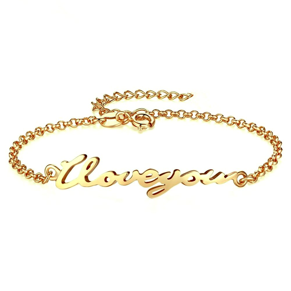 Women Personalized Name Bracelet and Anklet Nameplated 925 Sterling Silver 14K Gold Plated Custom Made with Any Names Anniversary Gift for Girls (Golden)