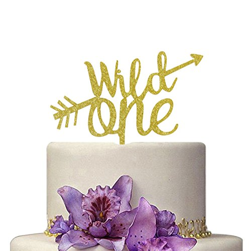 Gold Wild One Cake Topper, Gold Cake Topper for First Birthday, 1st Birthday Decorations Supplies