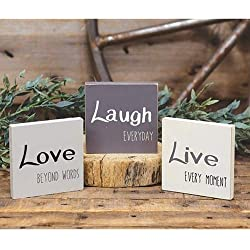 Hearthside Set of 3 Mini Wood Block Signs 'Live' 'Laugh' & 'Love'